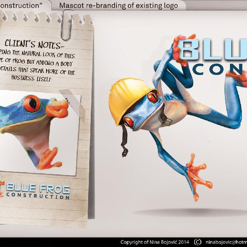 Create a fun & professional 3D Blue Frog Mascot