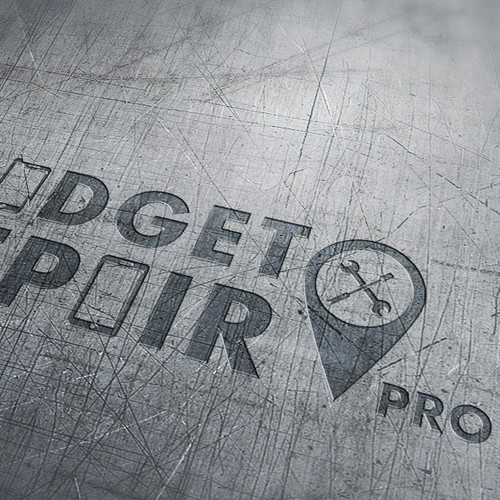 """Logo for """"Gadget Repair Pro"""" a company that fixes cell phones, tablets, comps. Each word should be roughly equal."""