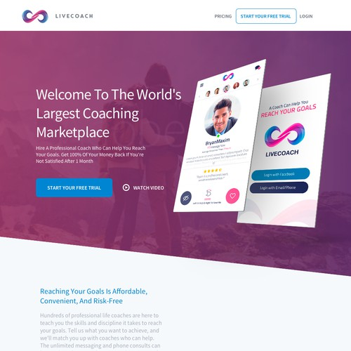 Landing page design for an online coaching marketplace