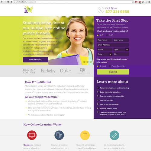 Transform K12's online education LP into an effective customer acquisition tool (Design only)