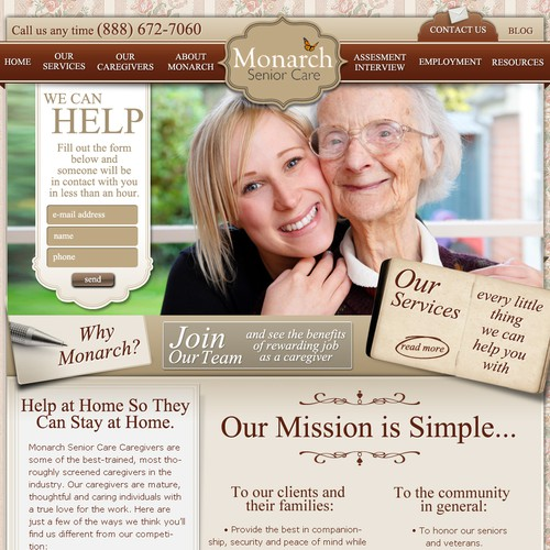website design for Monarch Senior Care
