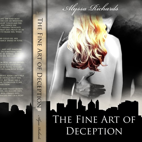Create a winning Book Cover for The Fine Art of Deception, a paranormal romance mystery