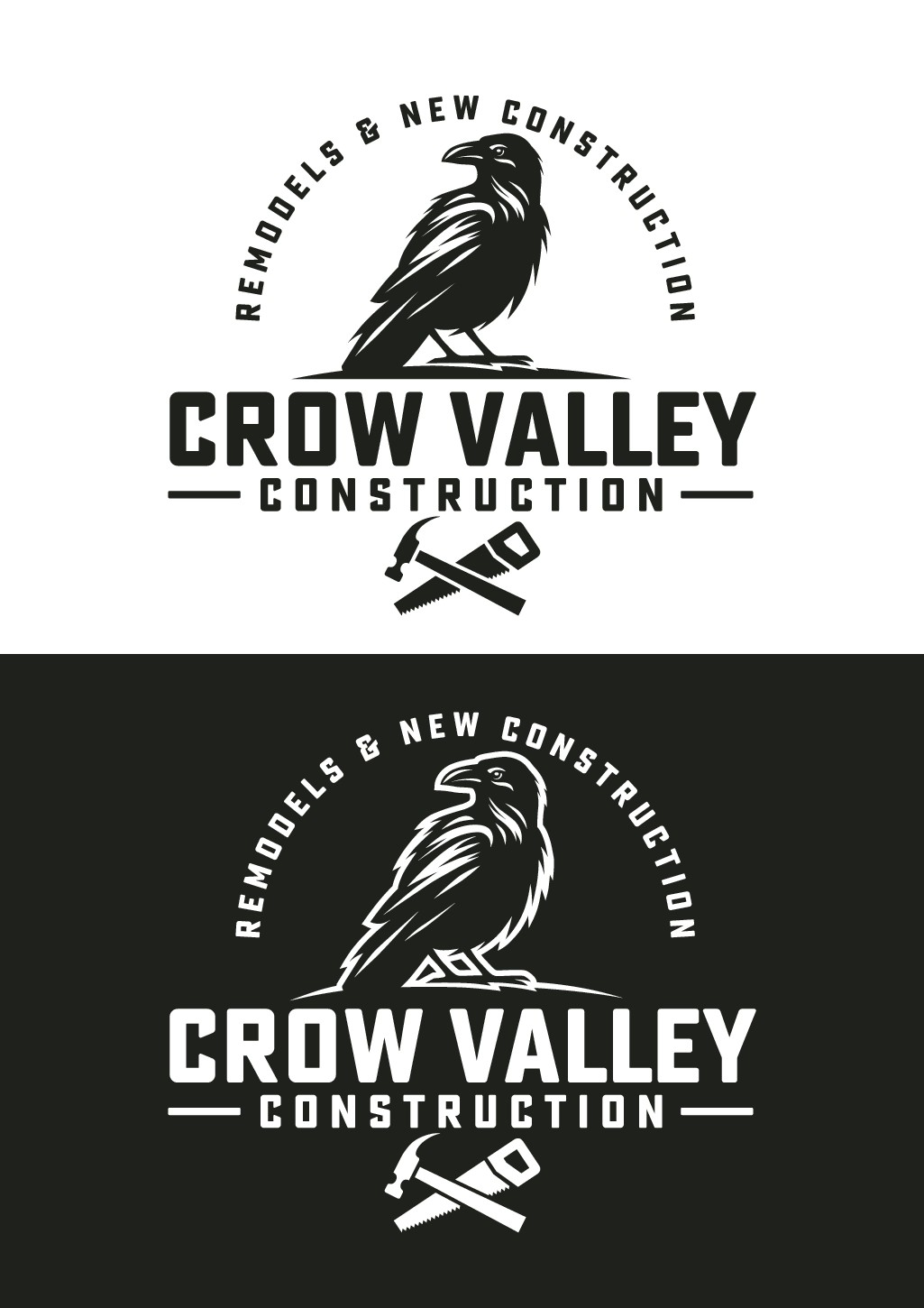 Clean and classic crow themed construction company logo