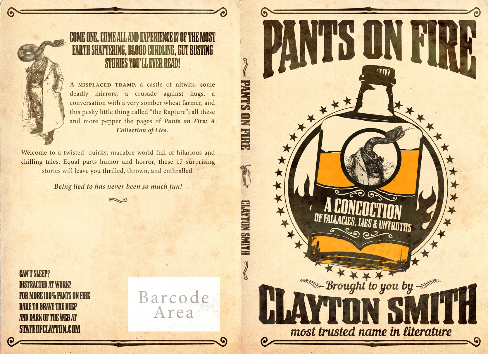 Create a fun book cover for Pants on Fire: A Collection of Lies!
