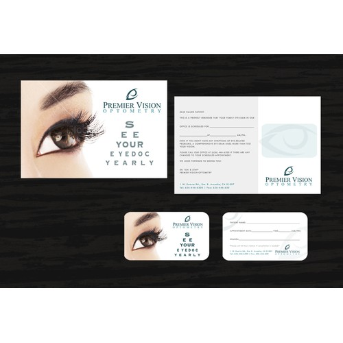 Innovative, Fresh, and Modern 2 sided Postcard+ 2 sided Appointment card wanted for Premier Vision Optometry