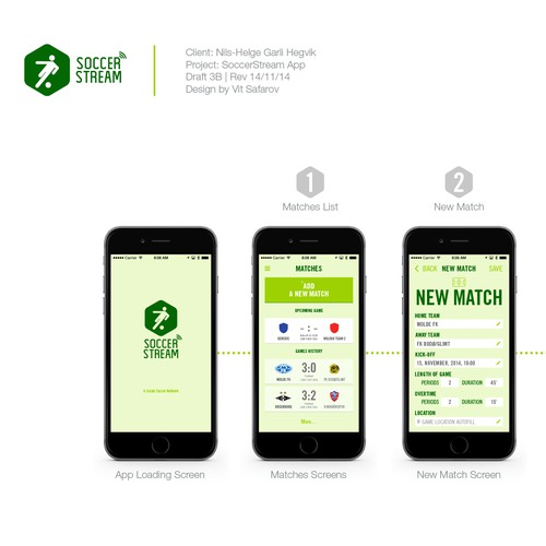 App design for a social soccer network SoccerStream