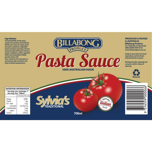 Label for a Authenic Italian pasta sauce