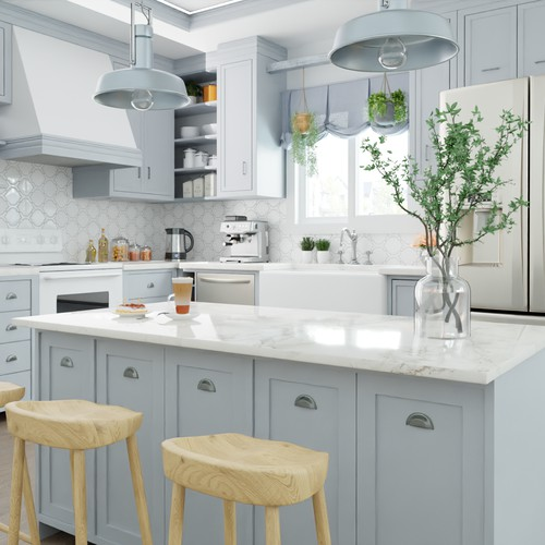 3D Render of a farmhouse style kitchen
