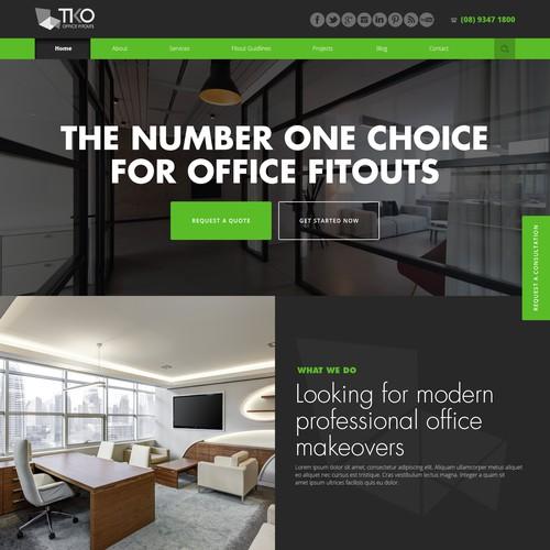web design concept for TKO Office Fitouts