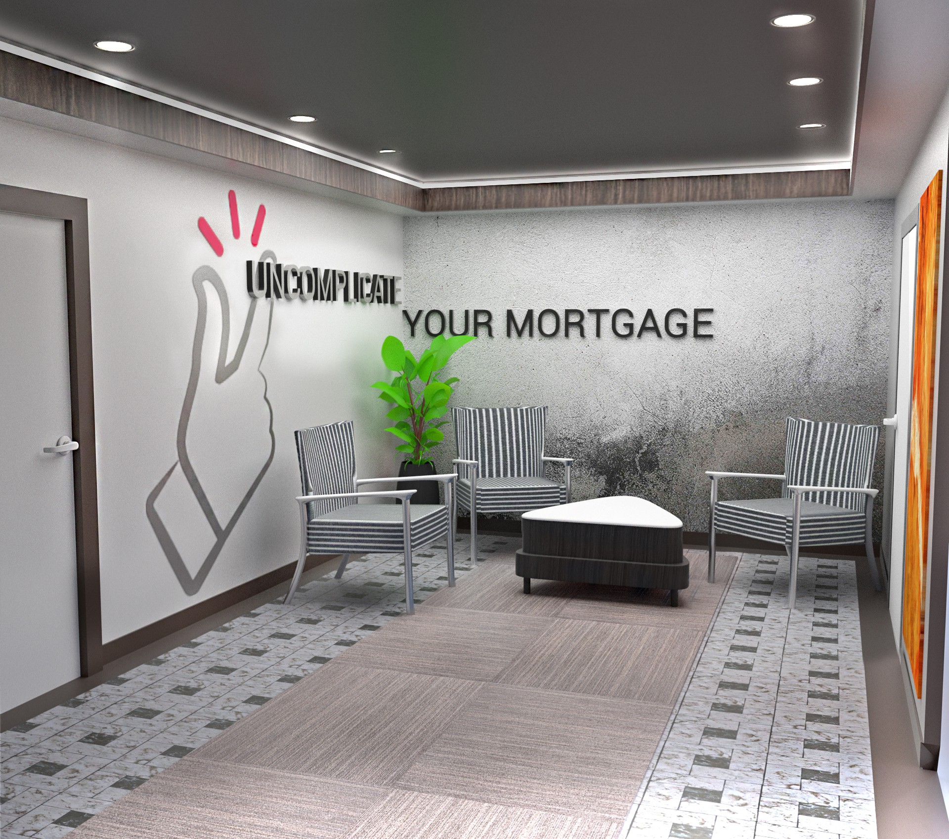 Main office entrance and Lobby branding