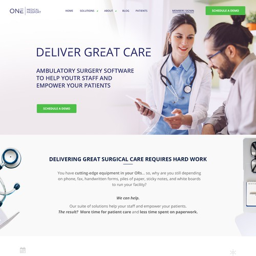 Home Page Design Concept for Medical Software Company