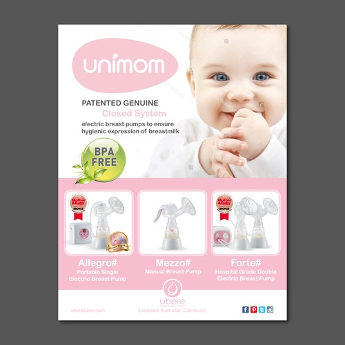 Australian retail poster for Unimom breast pumps