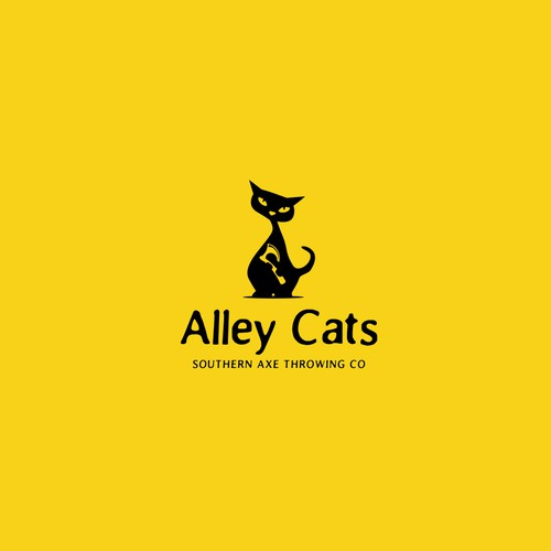 Minimal whimsical vintage logo for Axe Throwing Company. Challenging cat and axe concept.