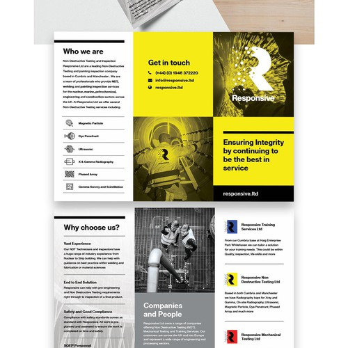 Trifold brochure design for an industrial company