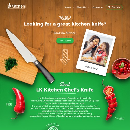 Wordpress Design For Chef Knife Product