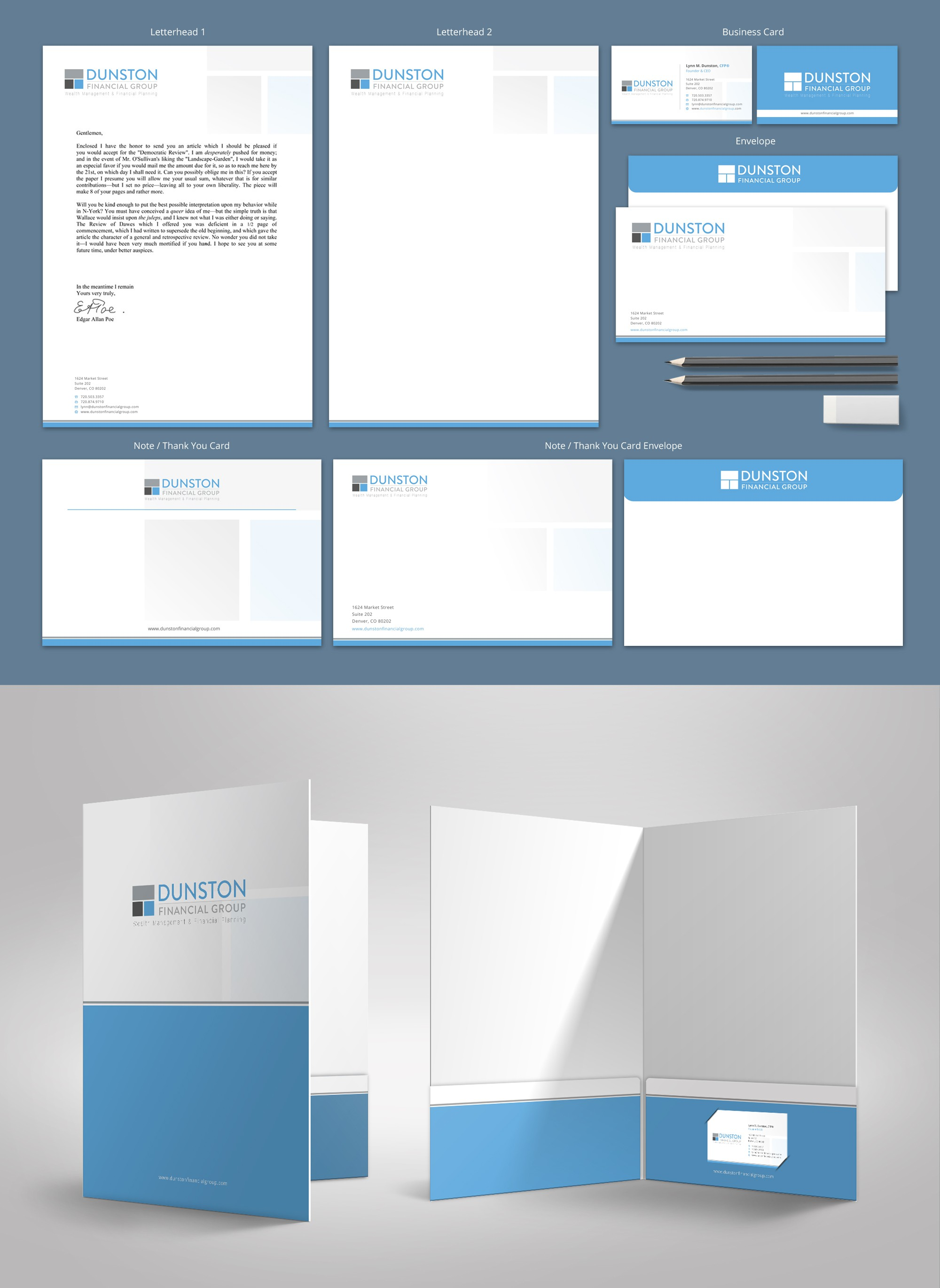 Create Business Card, Letterhead, & Note Card for Modern Financial Planning Firm