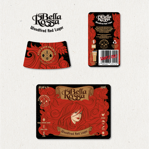 """Bella Rossa"" - ""Woodfired Red Lager"" beer label design"