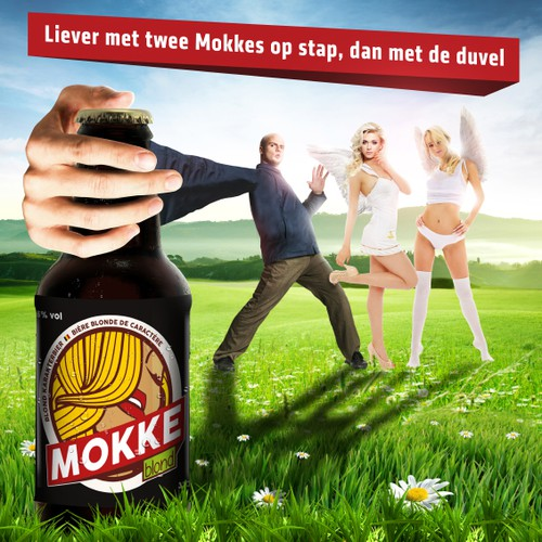 Advertising for Mokke blond beer