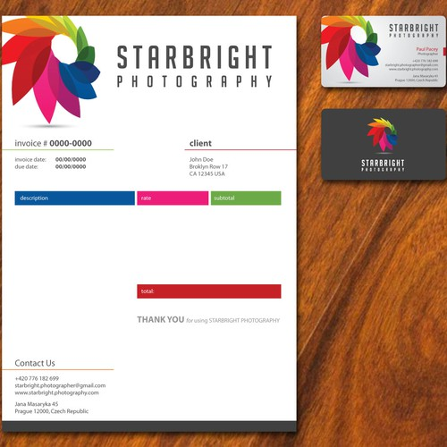 Create a clean, contemporary business card & invoice to complement colorful logo.