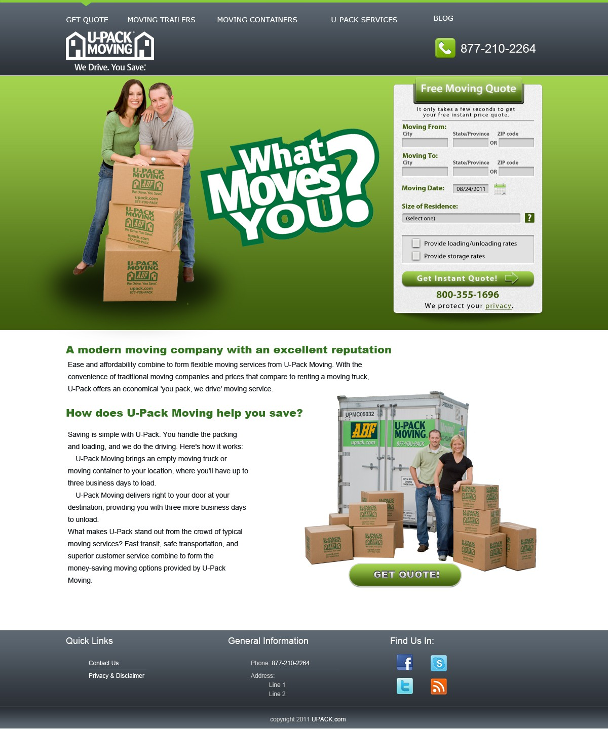 U-Pack Moving needs a new website design