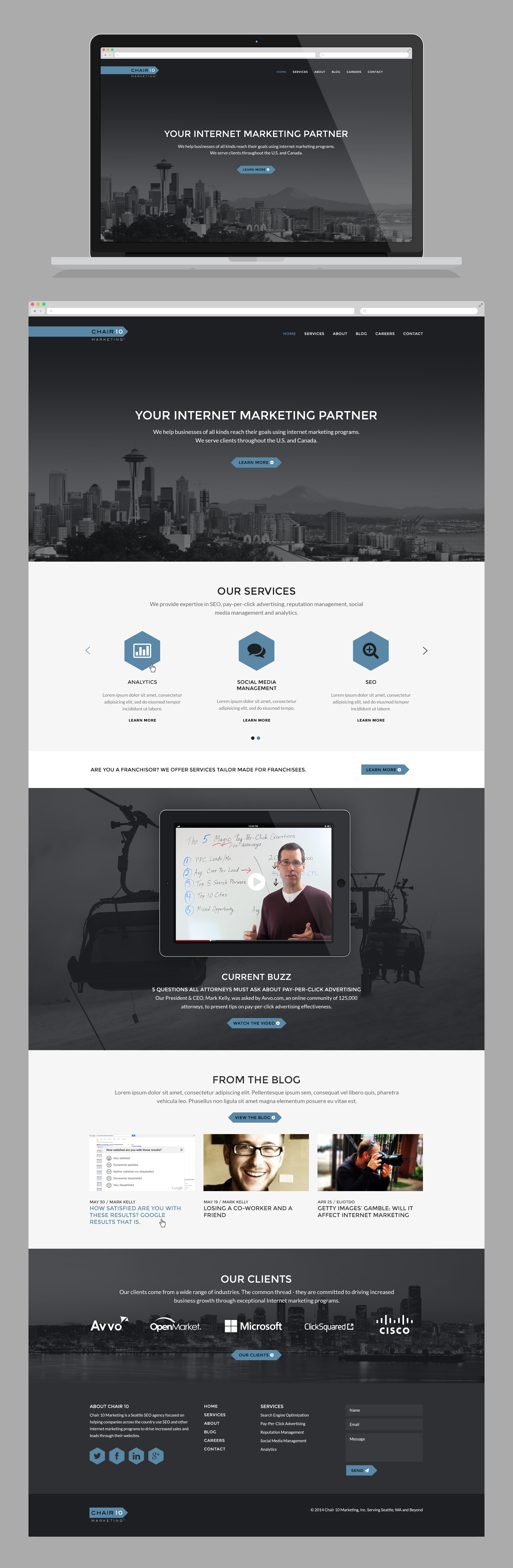 Create a memorable and modern website for Chair 10 Marketing