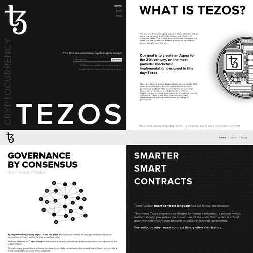 Bold web design for Tezos