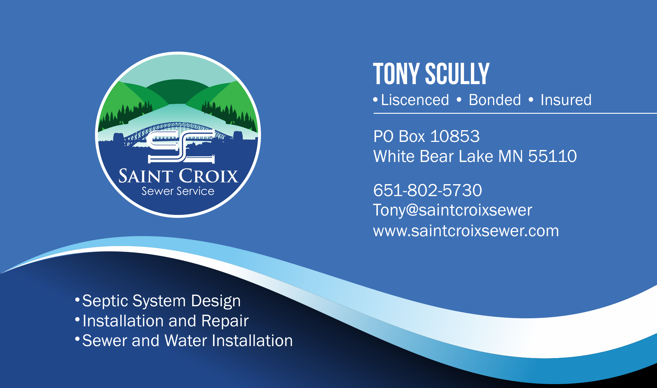 I need a great new design for my new business. My work is all done in the st croix river valley area