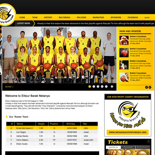 New Website Design Wanted for Professional Basketball Team