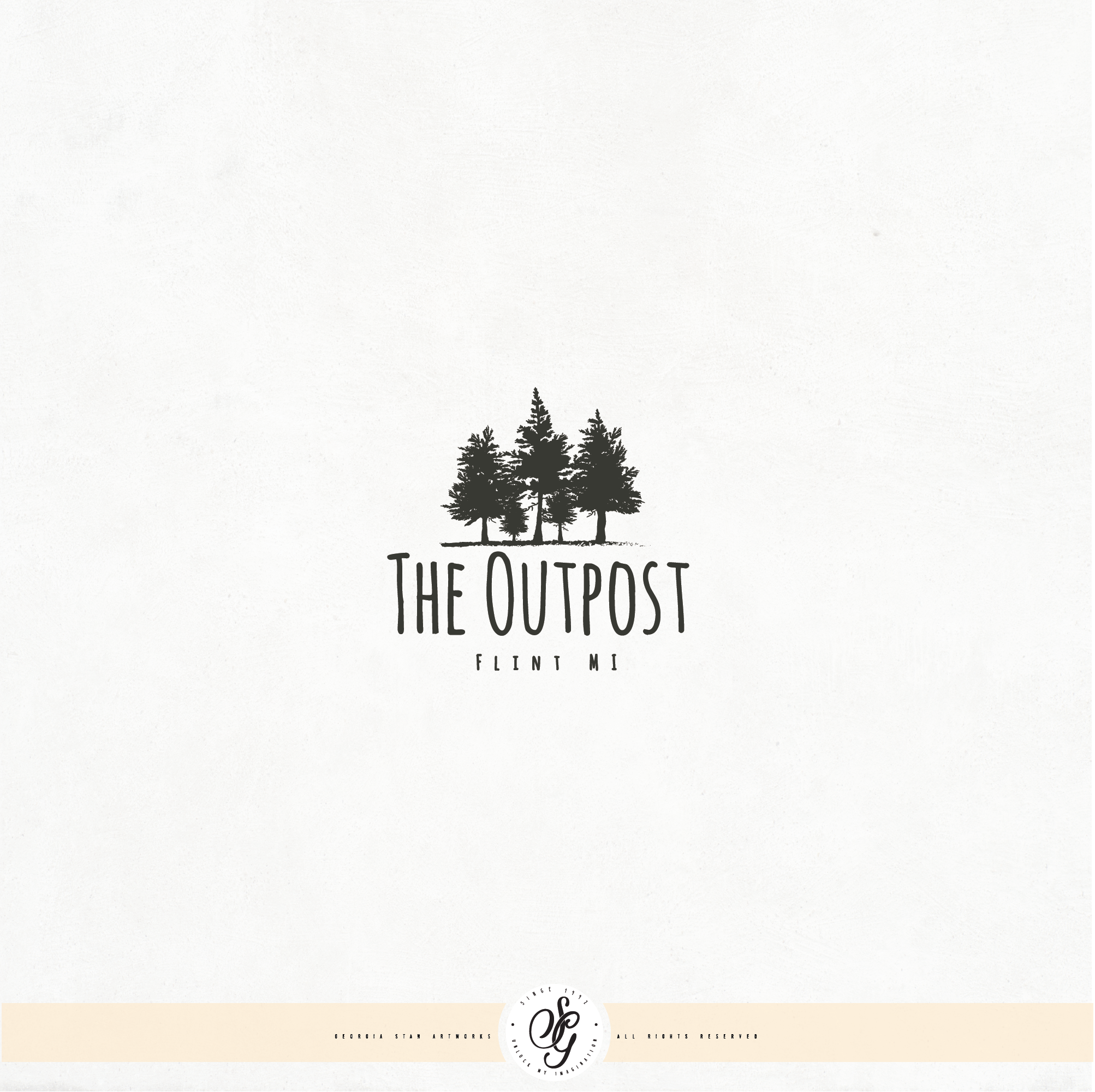 Create a rustic, woodsy, log cabin logo for The Outpost