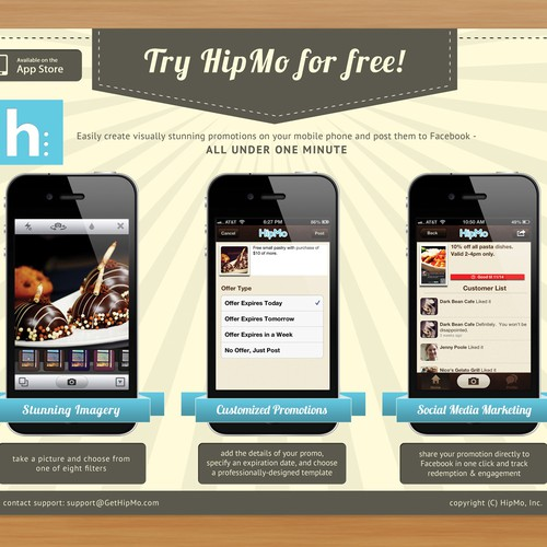 Postcard flyer for HipMo, a mobile social startup for small businesses