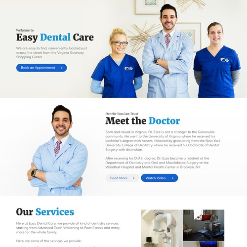 "Custom Home Page for ""Easy Dental Care"""