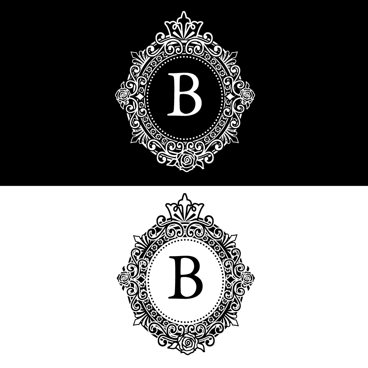 Create a classic, vintage oval photo frame logo with a 'B' inside centre for a high fashion look.