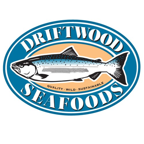 Bold illustration of salmon as visual center of interest for seafood logo