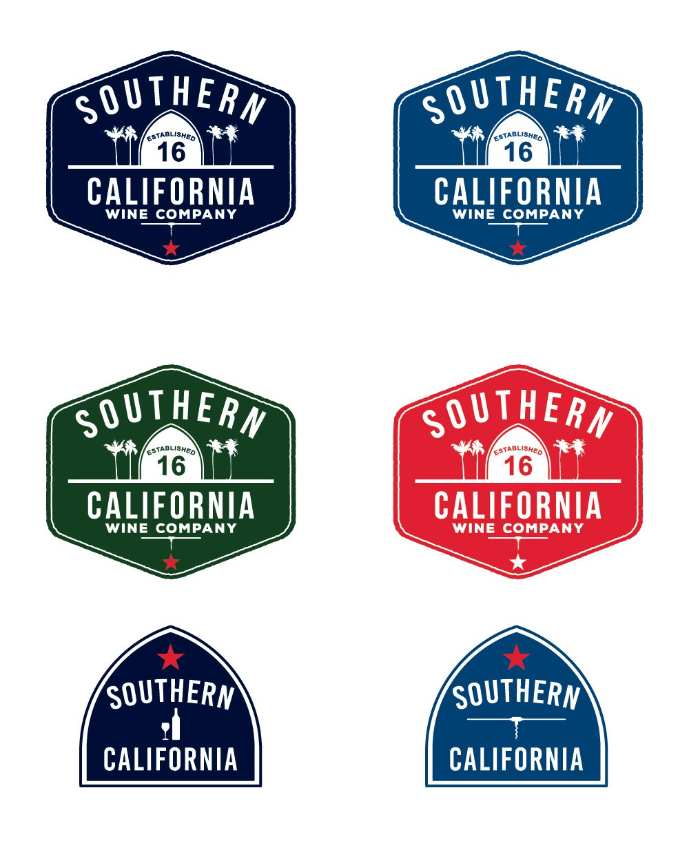 create a vintage logo for a wine company with a Southern California vibe