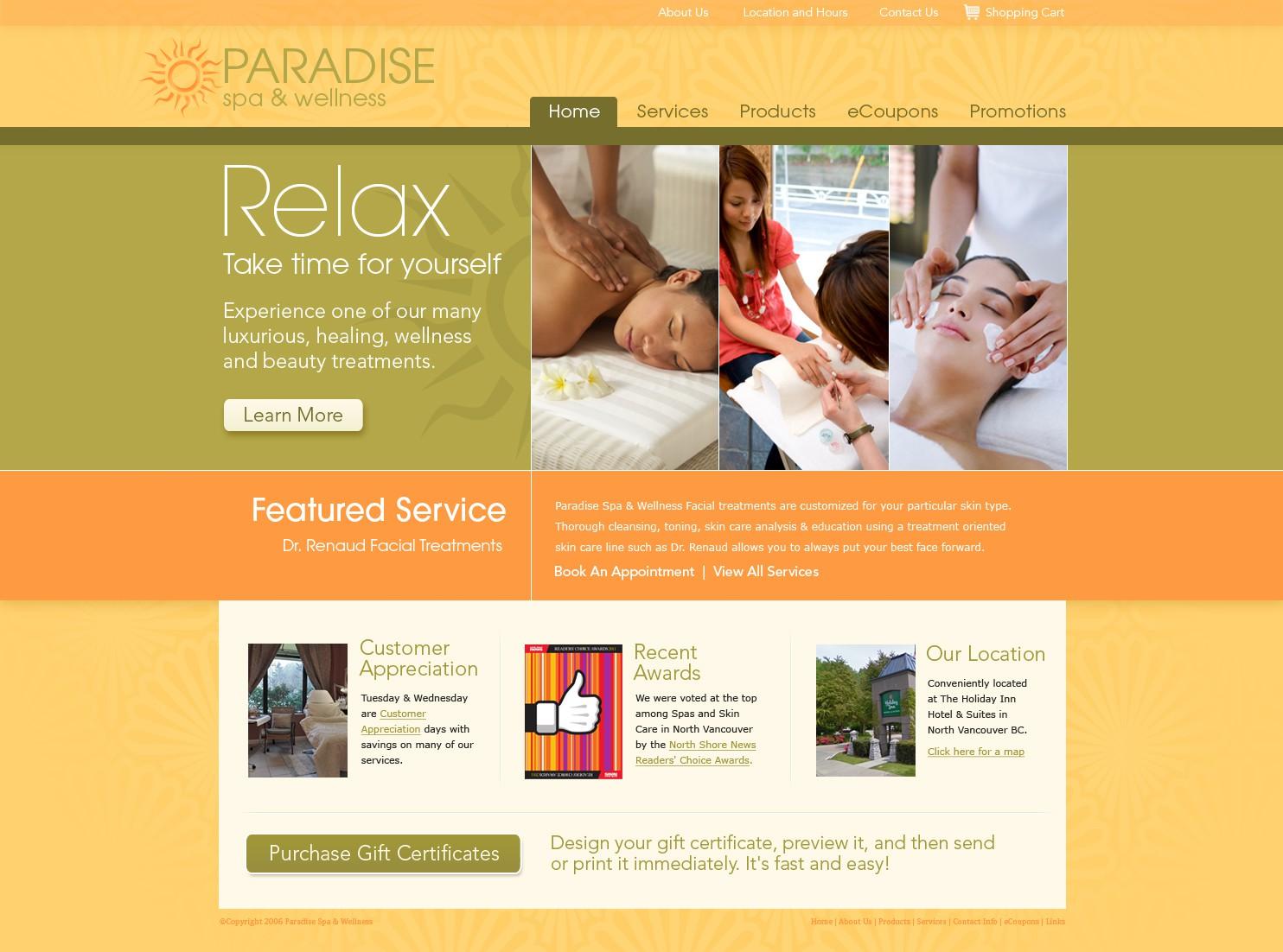 Paradise Spa and Wellness needs a new website design