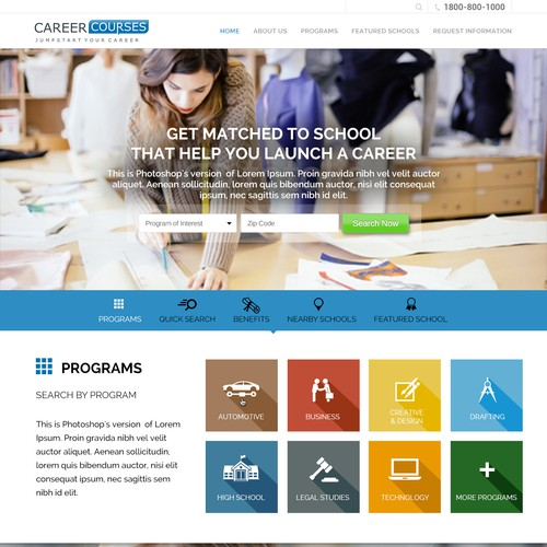Colourful web design for Career Courses.