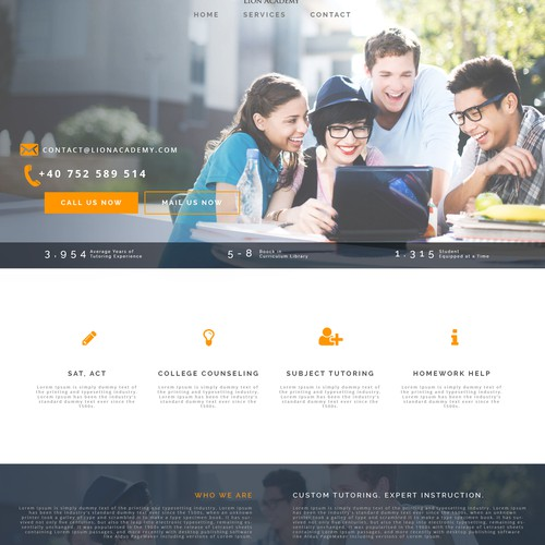 Visually cool looking website for a high end tutoring company