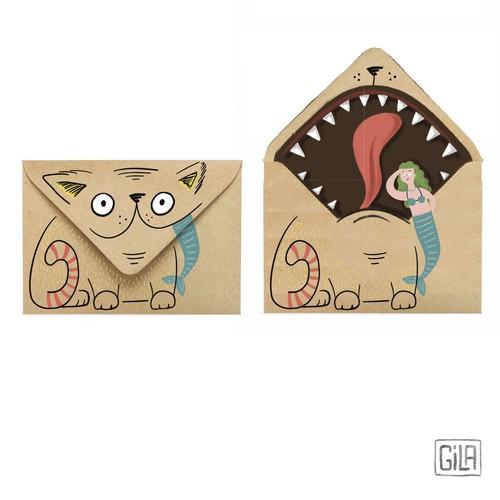 Illustrated funny envelopes