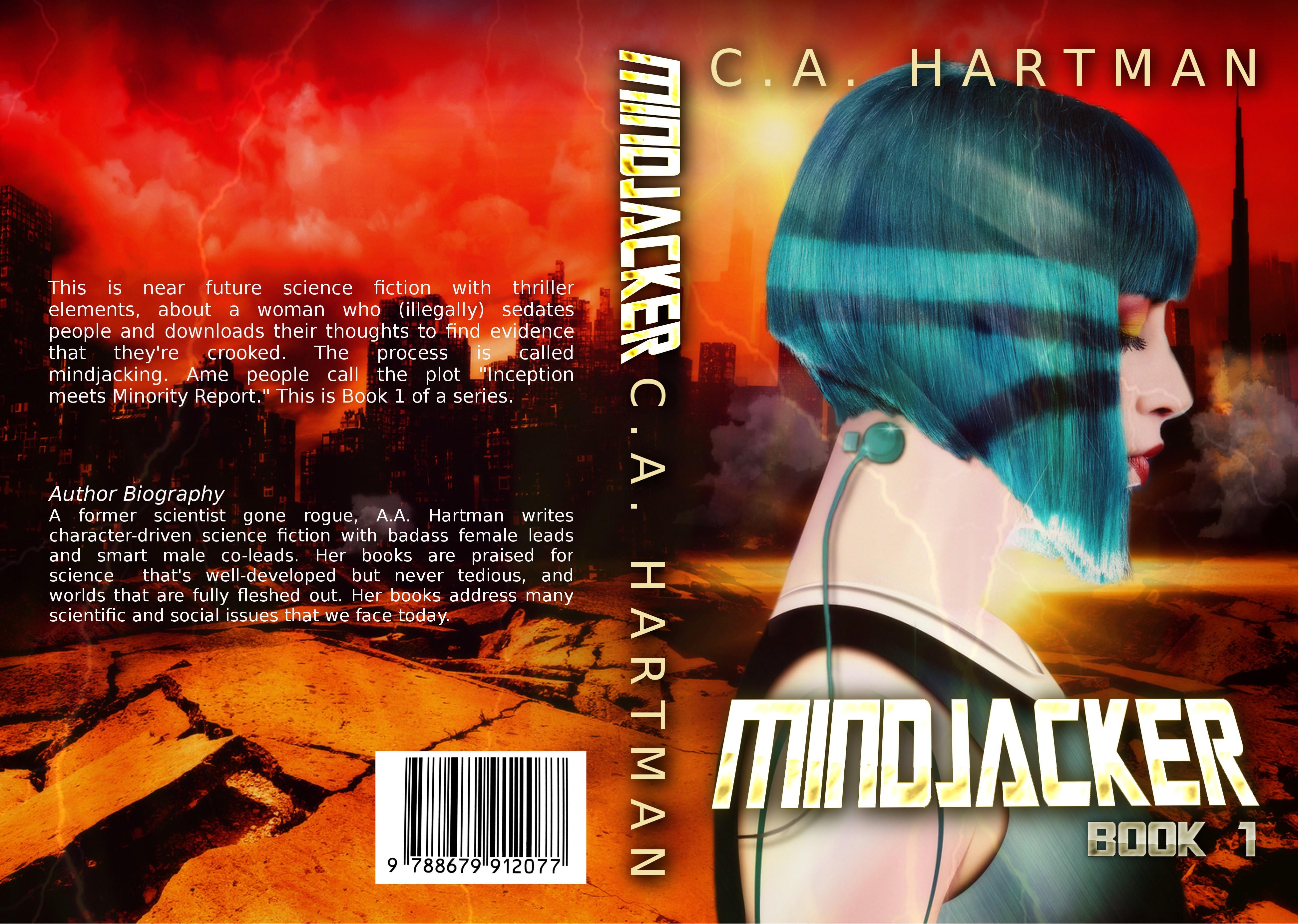 Badass book cover for Mindjacker sci-fi series.