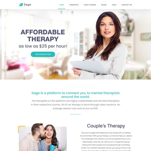 Landing page for Sage therapy.