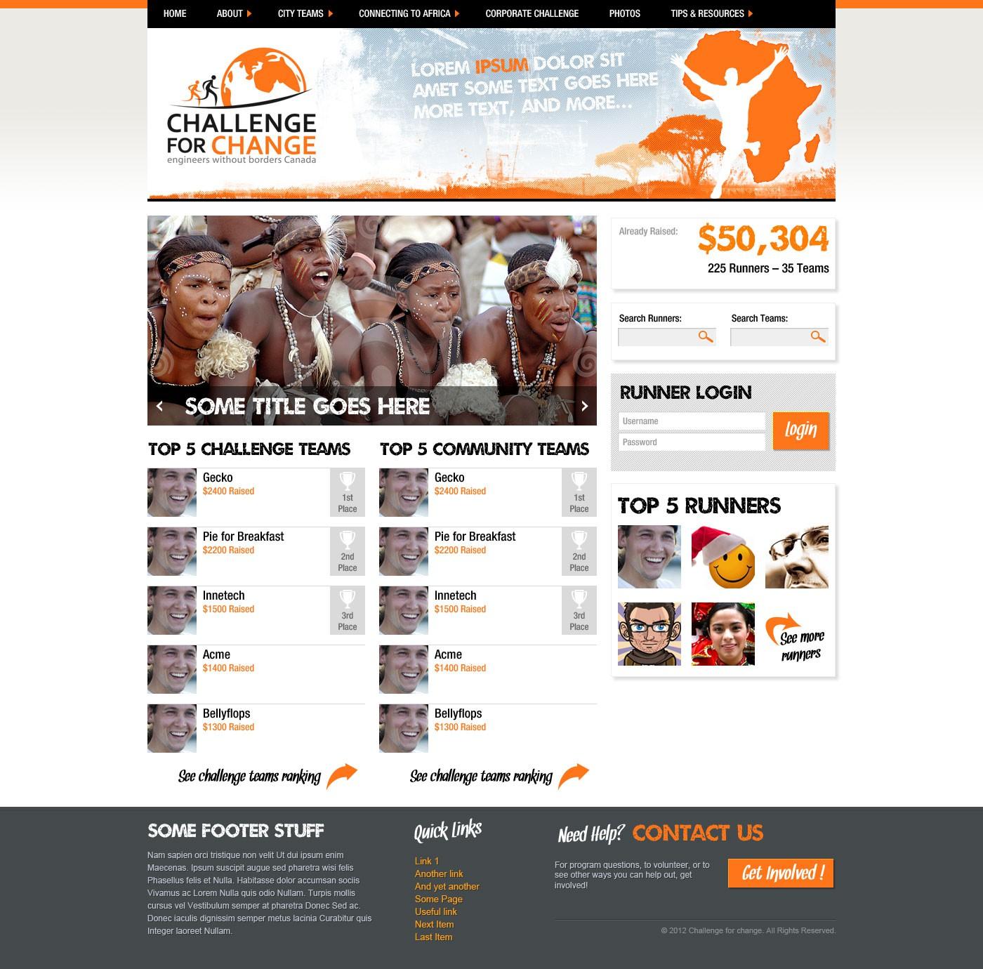Challenge For Change  needs a new website design
