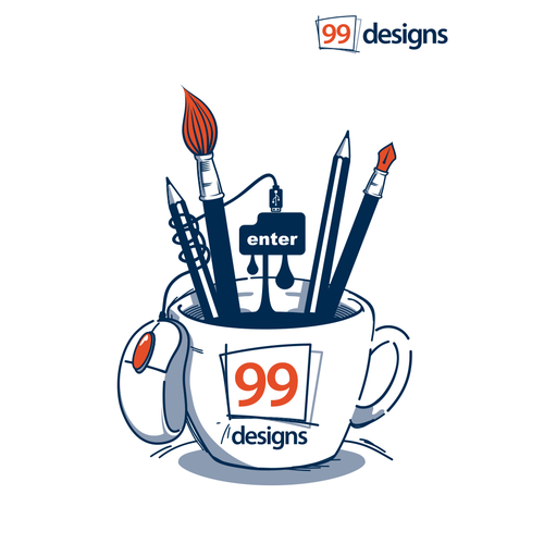 Create a cool illustration for 99designs Cafe!