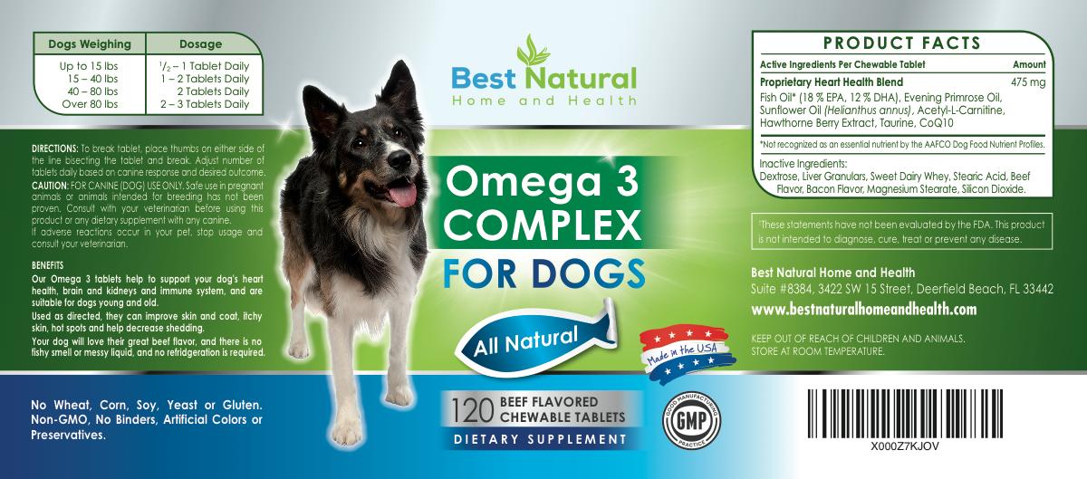 Dog Omega 3 product label