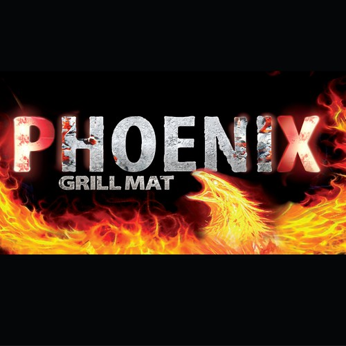 Cylindrical tube needing fiery Phoenix bird burning words for BBQ product.