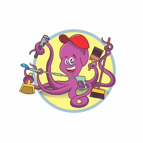 Eco Friendly Octopus Mascot for Cleaning Company