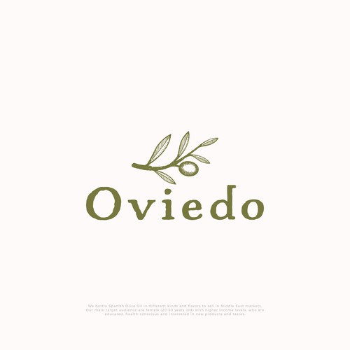 Hand-drawn logo for Oviedo olive oil company