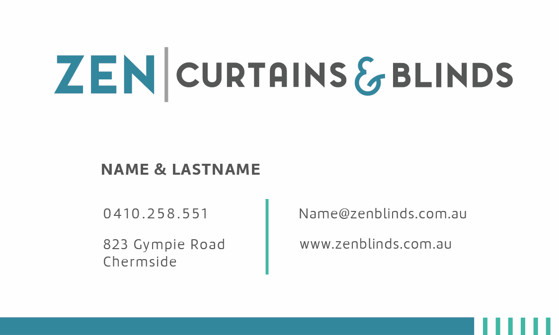 Business card design for Zen curtains & blinds