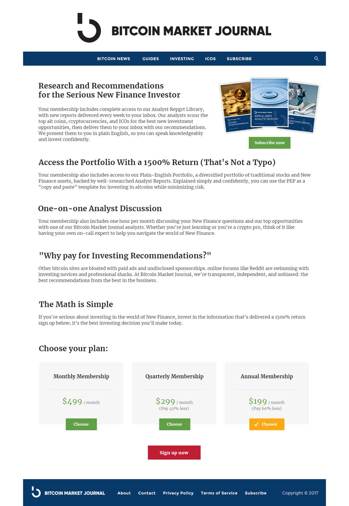 Design a page for our Bitcoin Market Journal Website