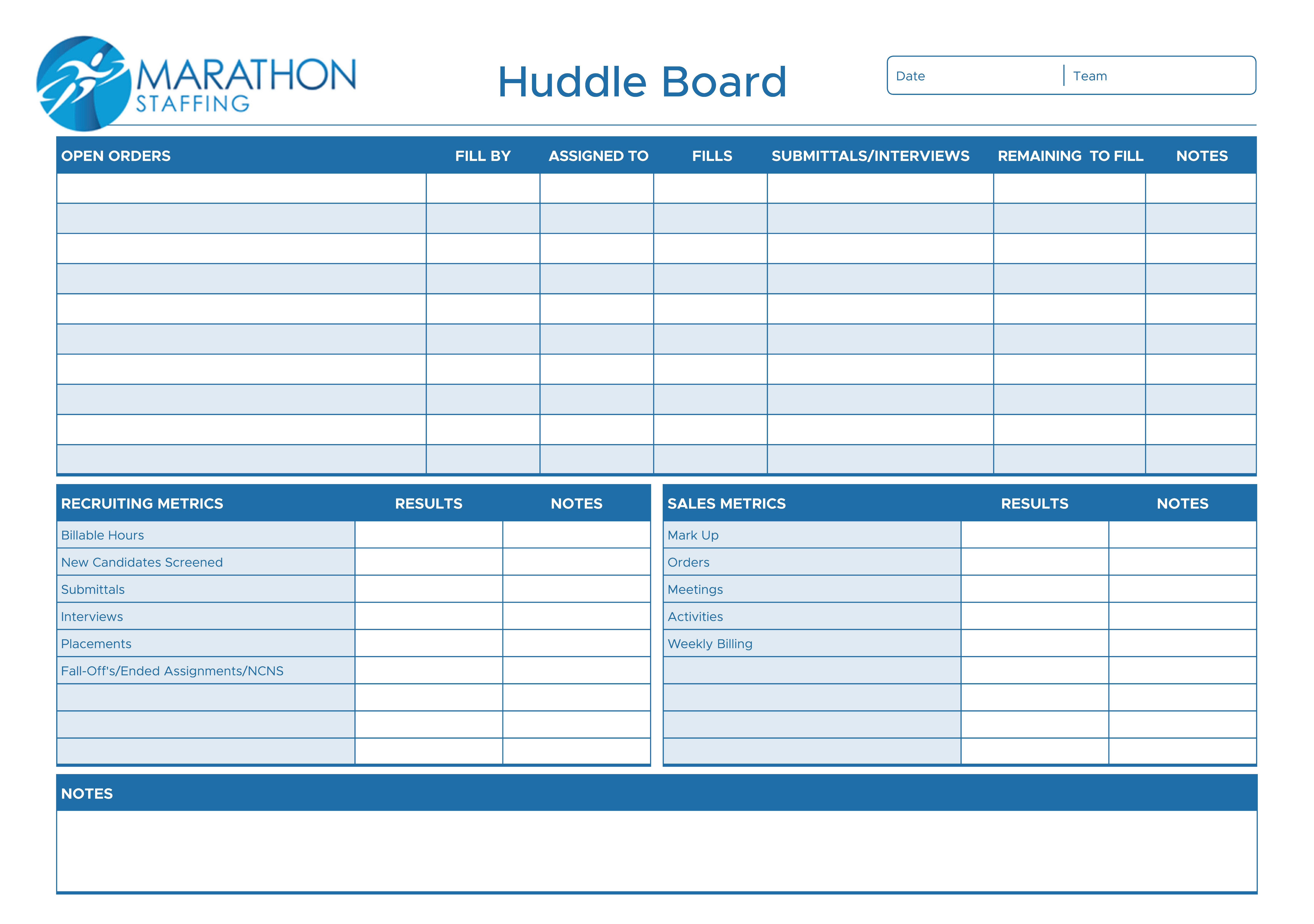 Huddle Board Design Needed for Recruiting Staff