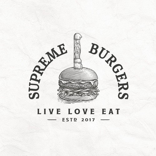 Burger Pen Drawing Logo